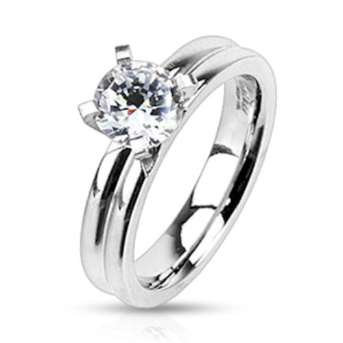 Stainless Steel CZ Solitaire Grooved Domed Wedding Band Ring