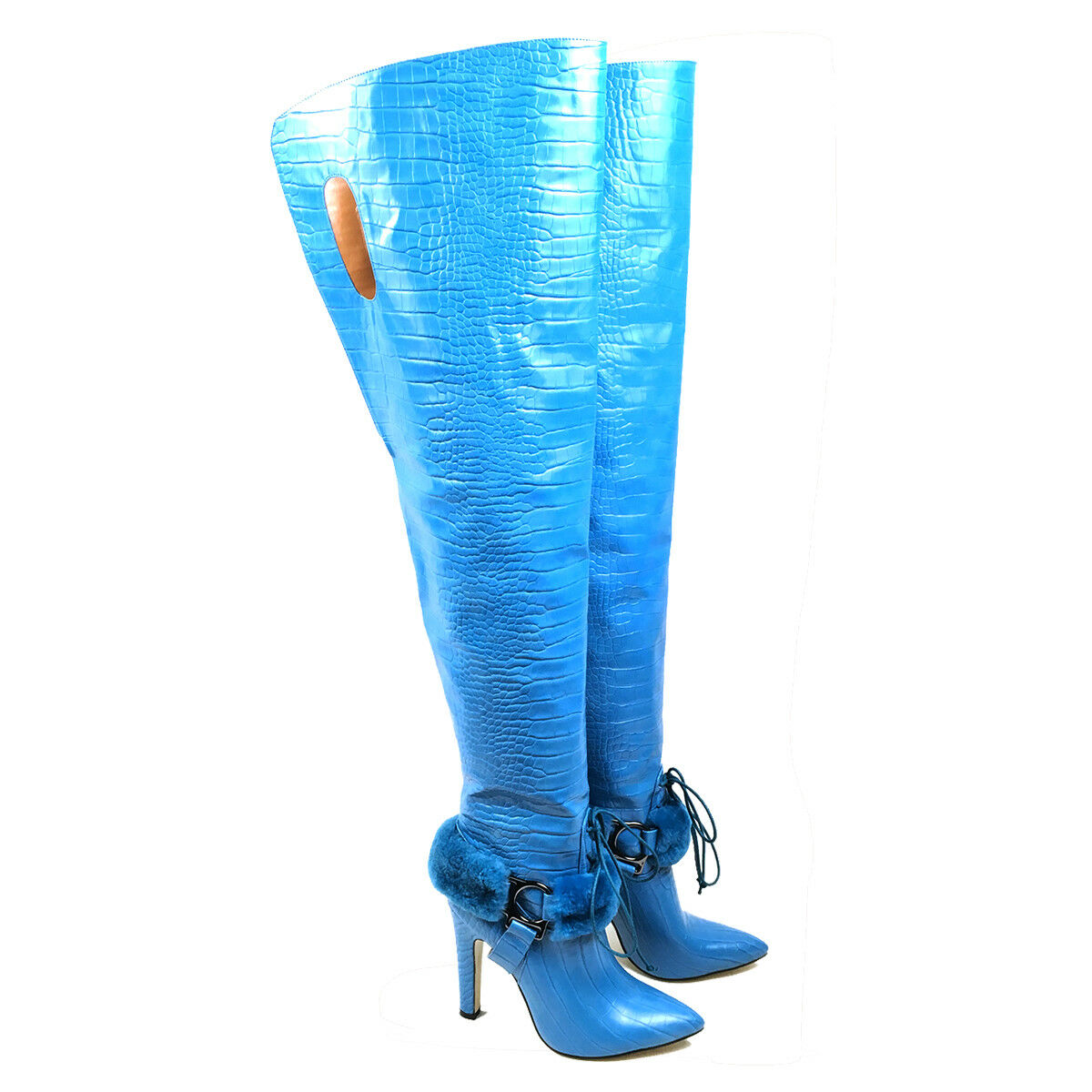 New Arrival Sexy Women Pointy Toe Thigh High Stiletto Over The Knee Boots Blue