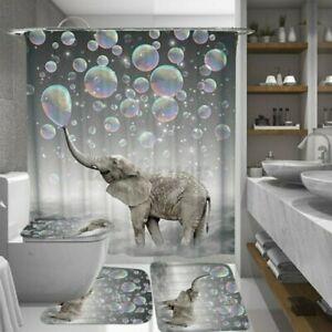 4pcs-Blasen-Elefant-Wasserfest-Badezimmer-Duschvorhang-Toilette-Abdeckung-Floo
