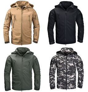 Mens-Military-Tactical-Softshell-Jacket-Outdoor-Camping-Waterproof-Coat-Hoody