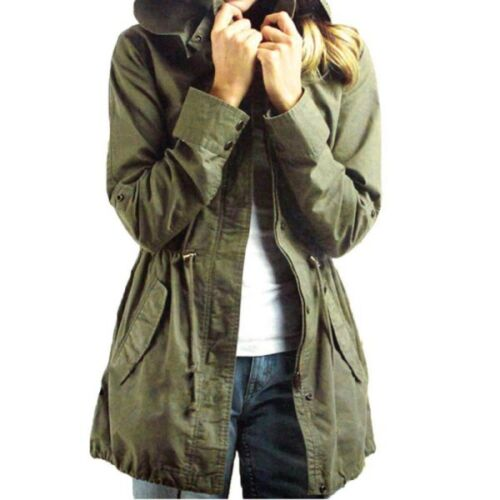Fashion Women/'s Trench Hooded Coat Jacket Casual Warm Army Green Military Parka