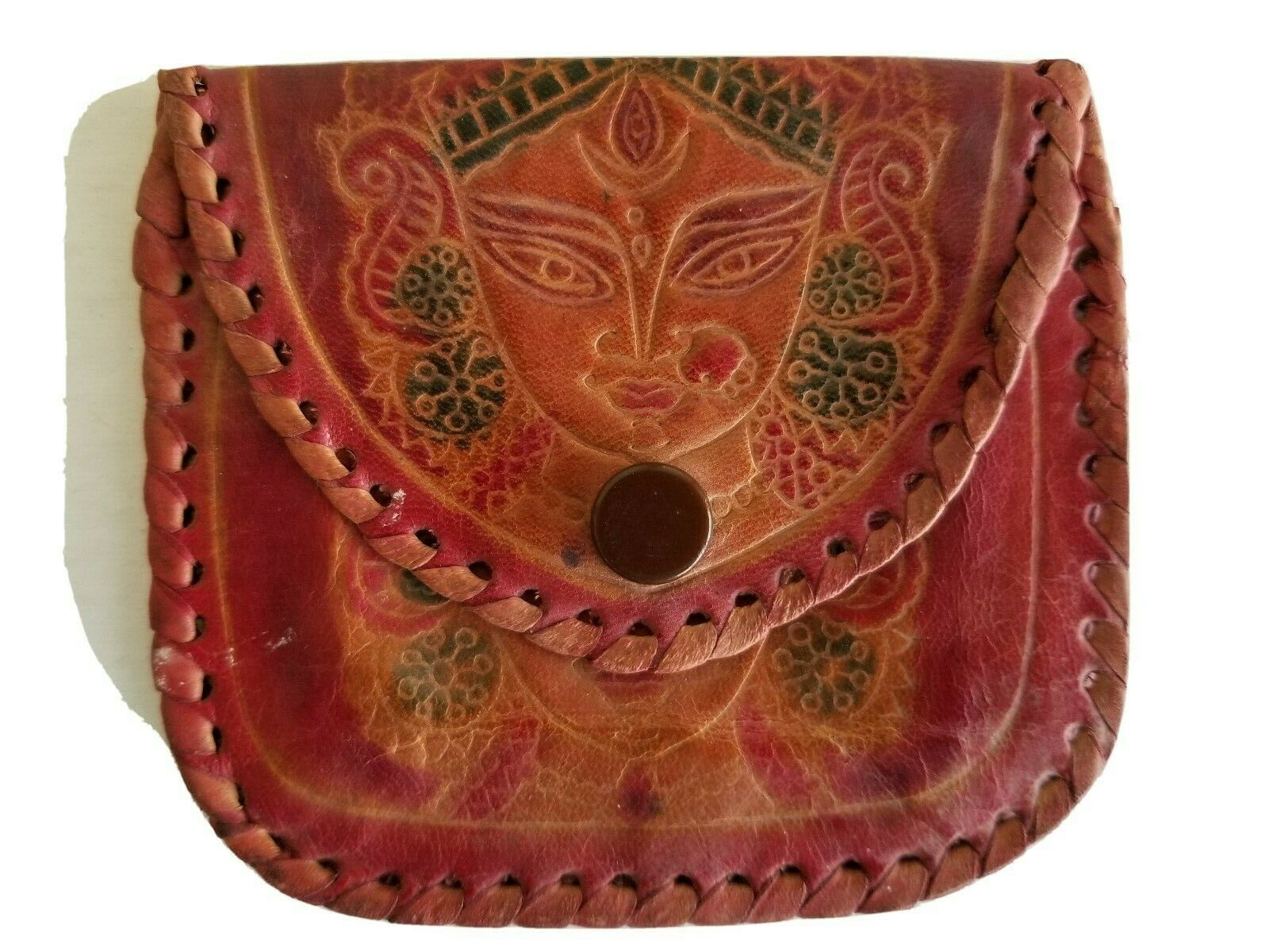 Leather Coin Purse Wallet with Embossed Indian or Egyptian Woman Made in India