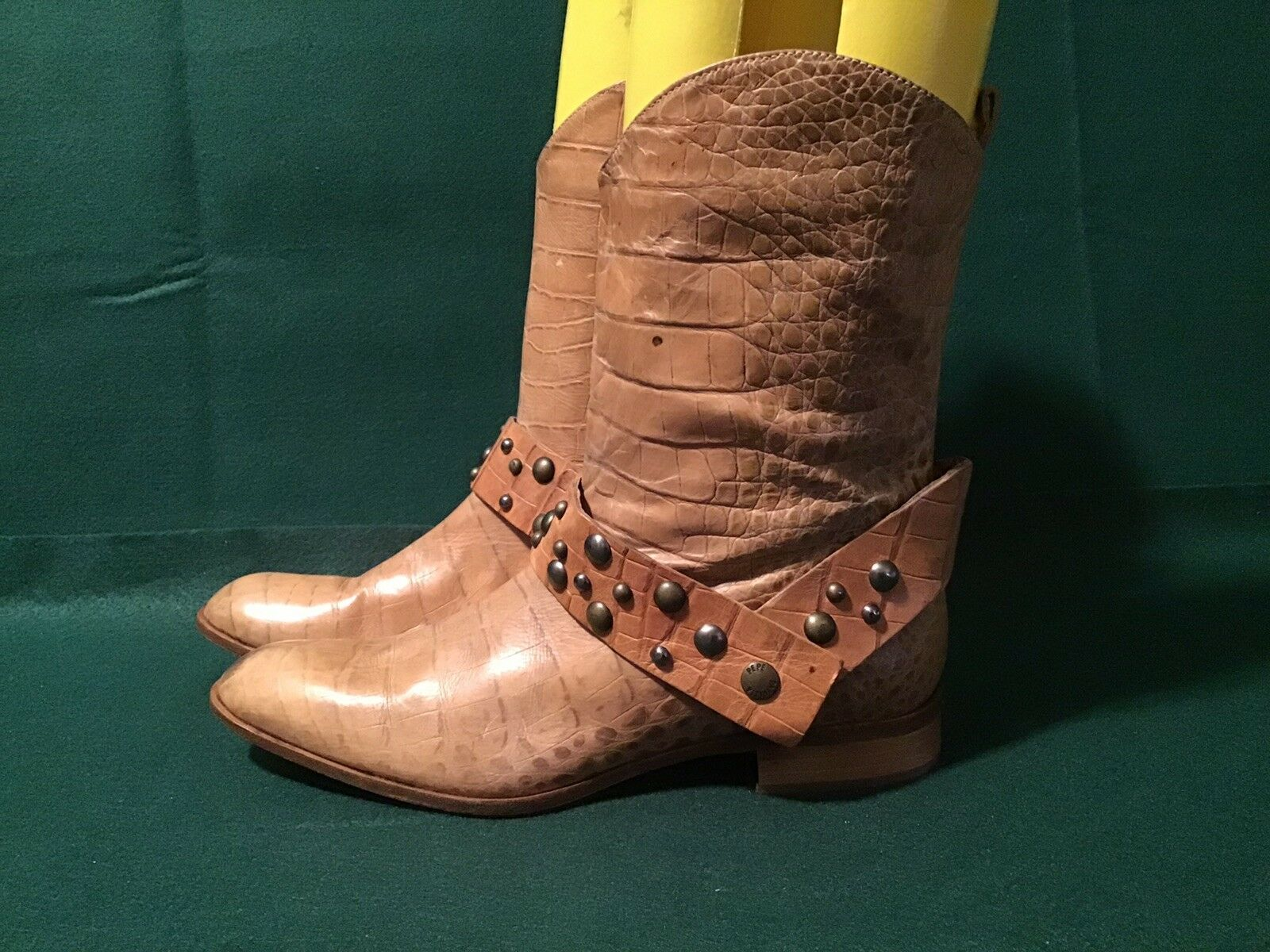 Patrizia Pepe Genuine Leather Brown Croc Western Ankle Boots Size 38 US 7-7.5