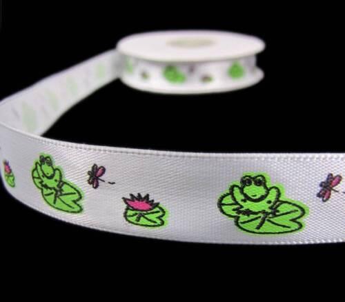 "5 Yds Novelty Frog Lillypad White Satin Ribbon 5//8/""W"