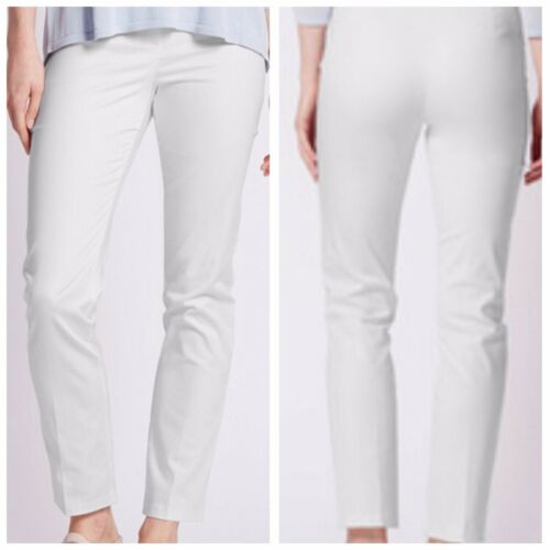 NEW EX M/&S LADIES SIZE 12 16 20 WHITE MODERN SLIM LEG COTTON STRETCH TROUSERS