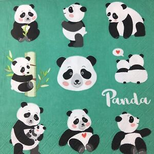 Party 4x Paper Napkins for Decoupage Craft Panda