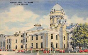 D61-Dothan-Alabama-AL-Postcard-Linen-Houston-Conty-Court-House