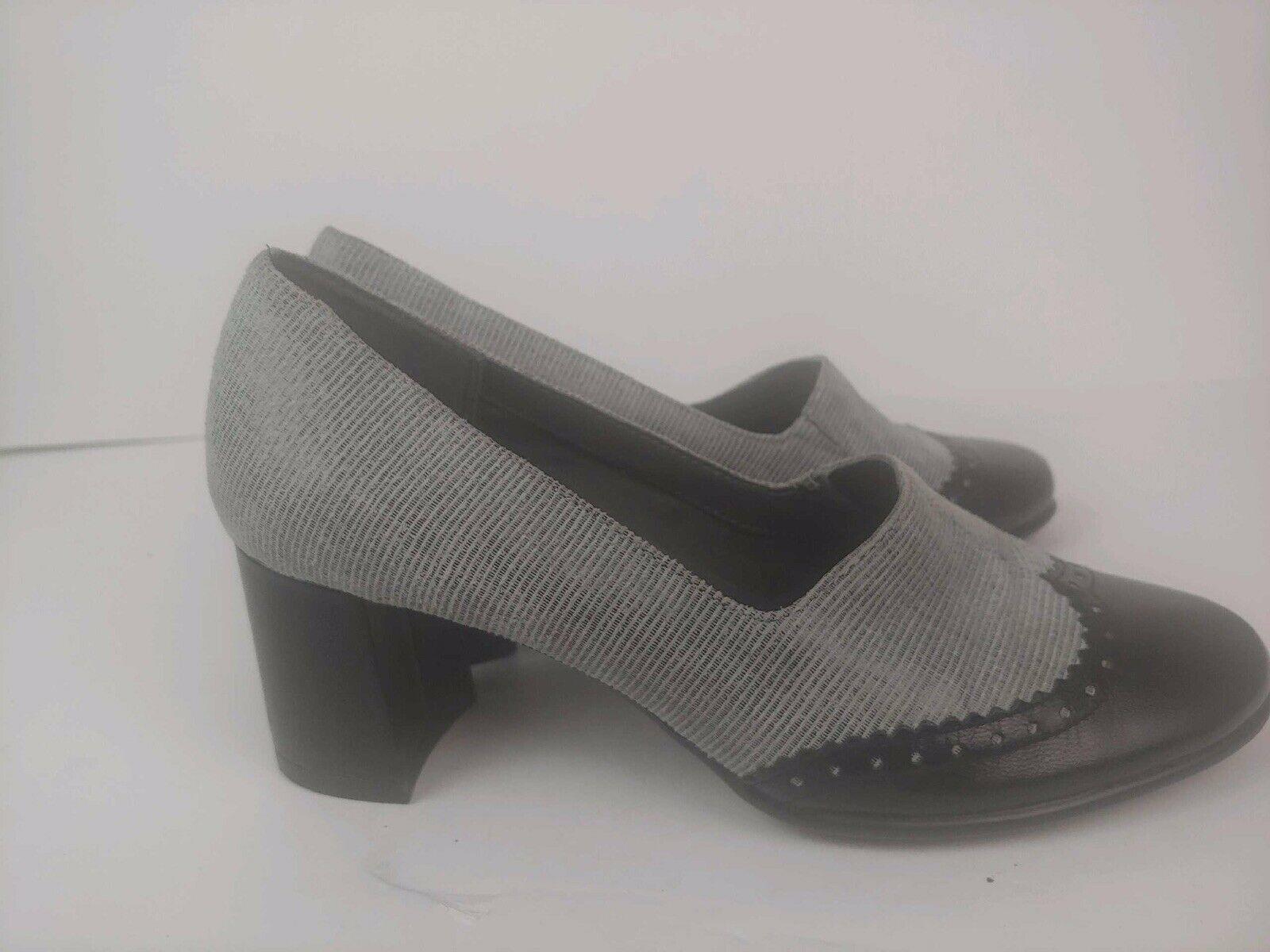 AEROSOLES Black Gray Wingtip Oxford Block Heel Slip On Pumps Heels Women's 7