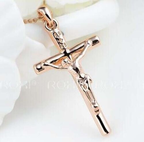 18K WHITE GOLD GF SILVER CROSS CRUCIFIX SOLID MENS LADIES CRYSTAL EARRINGS GIFT