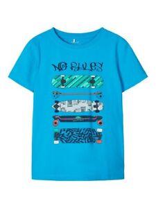 NAME-IT-Jungen-kurzarm-T-shirt-NKMJustin-blau-Skater-Groesse-122-128-bis-158-164