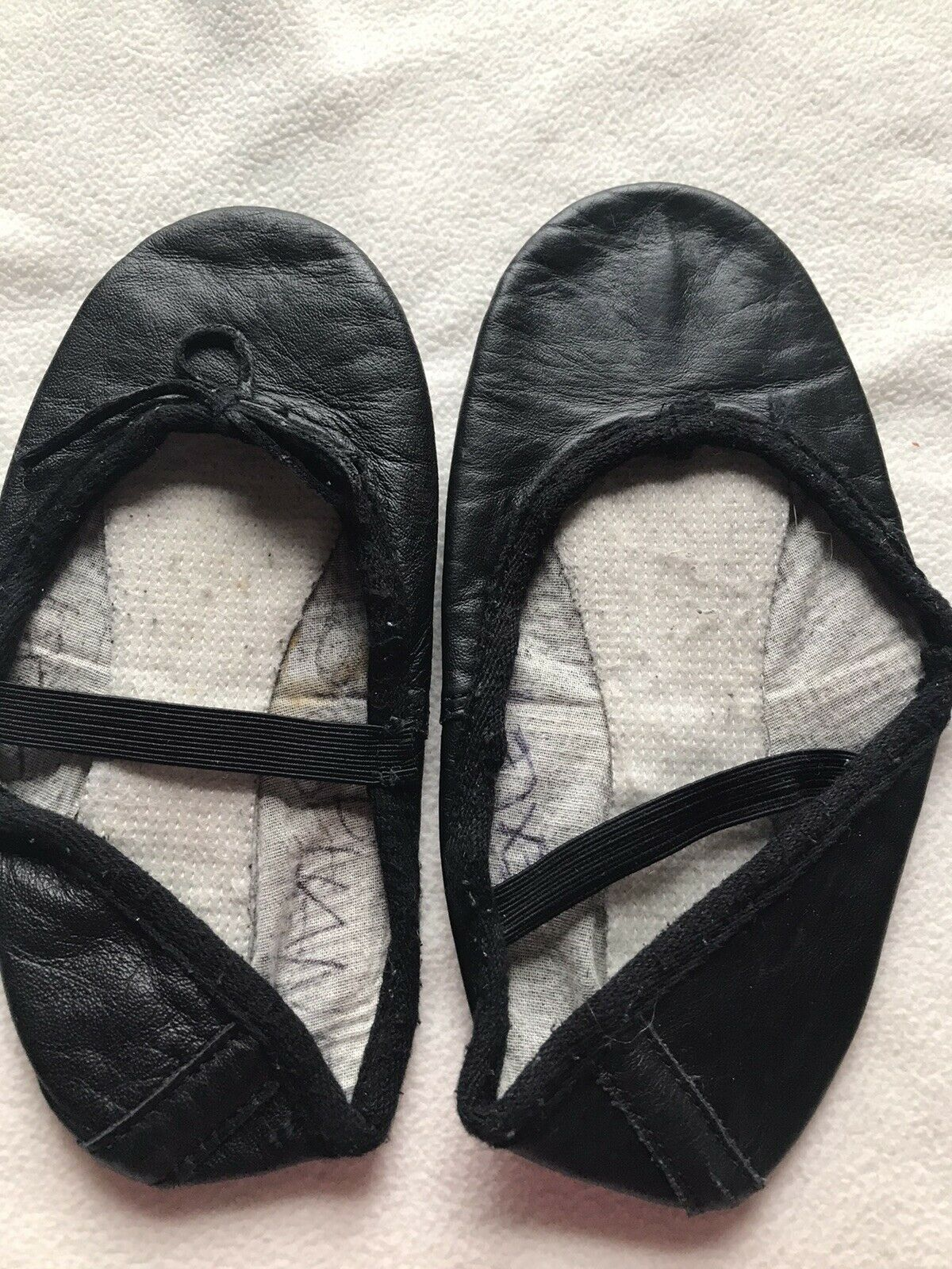 Black Leather Ballet Shoes full sole with attached elastics