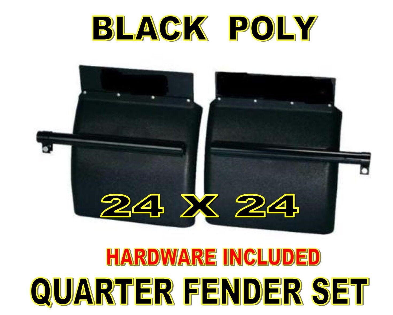 United Pacific 1 Pair 24 x 24 Black Poly Quarter Fenders Semi Truck