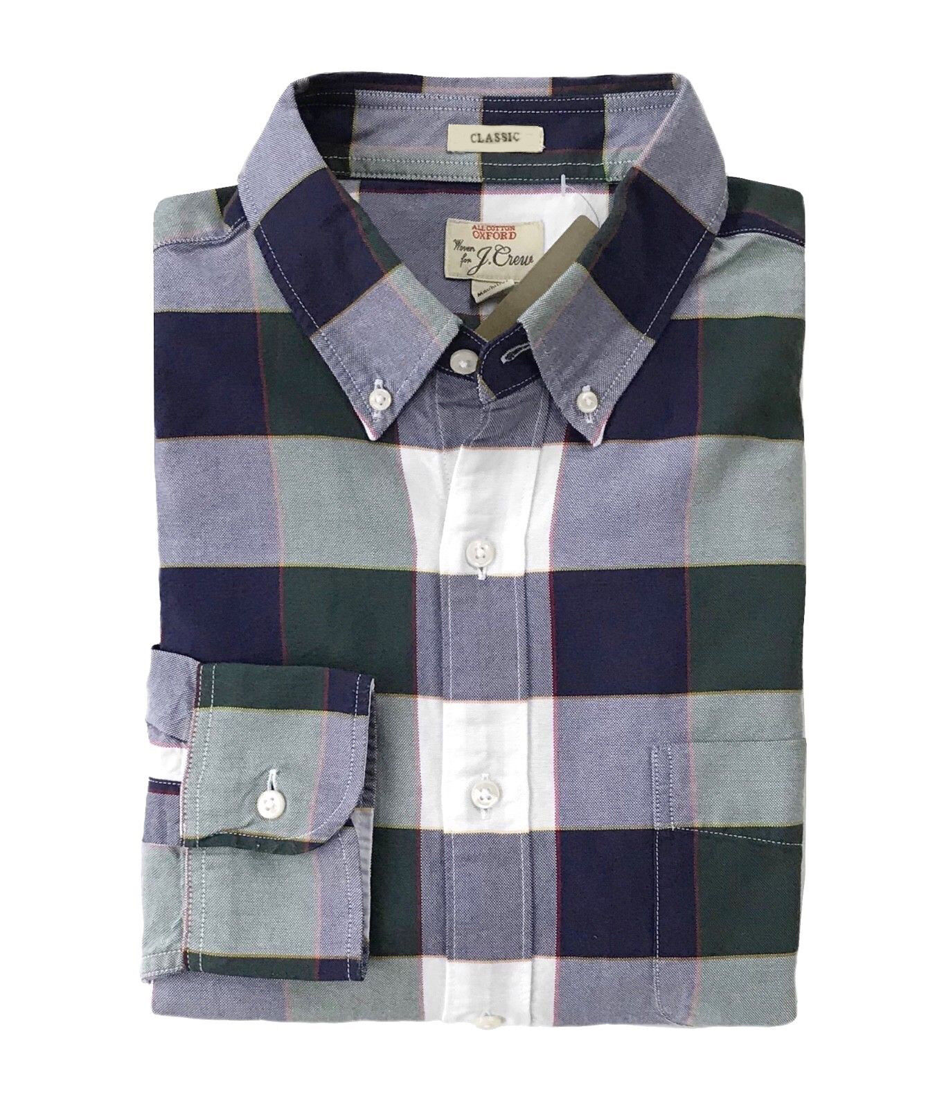 J Crew - Mens L - Classic Fit - Green Navy White Plaid Pima Cotton Oxford Shirt