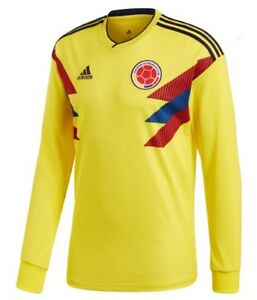 Image is loading ADIDAS-COLOMBIA-LONG-SLEEVE-HOME-JERSEY-WORLD-CUP- f34b84d83