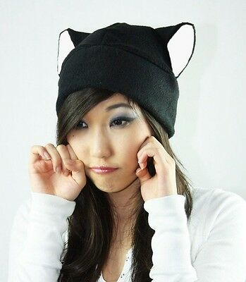 Black beanie Kitty Cat ear hat cosplay anime manga goth punk ski snowboard warm