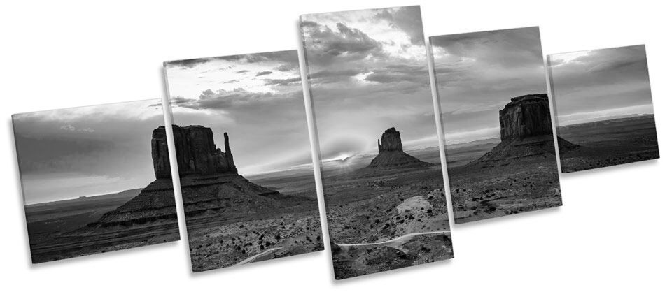 Monument Valley Sunset B&W B&W B&W CANVAS WALL ART Five Panel Print Picture b1cf6a
