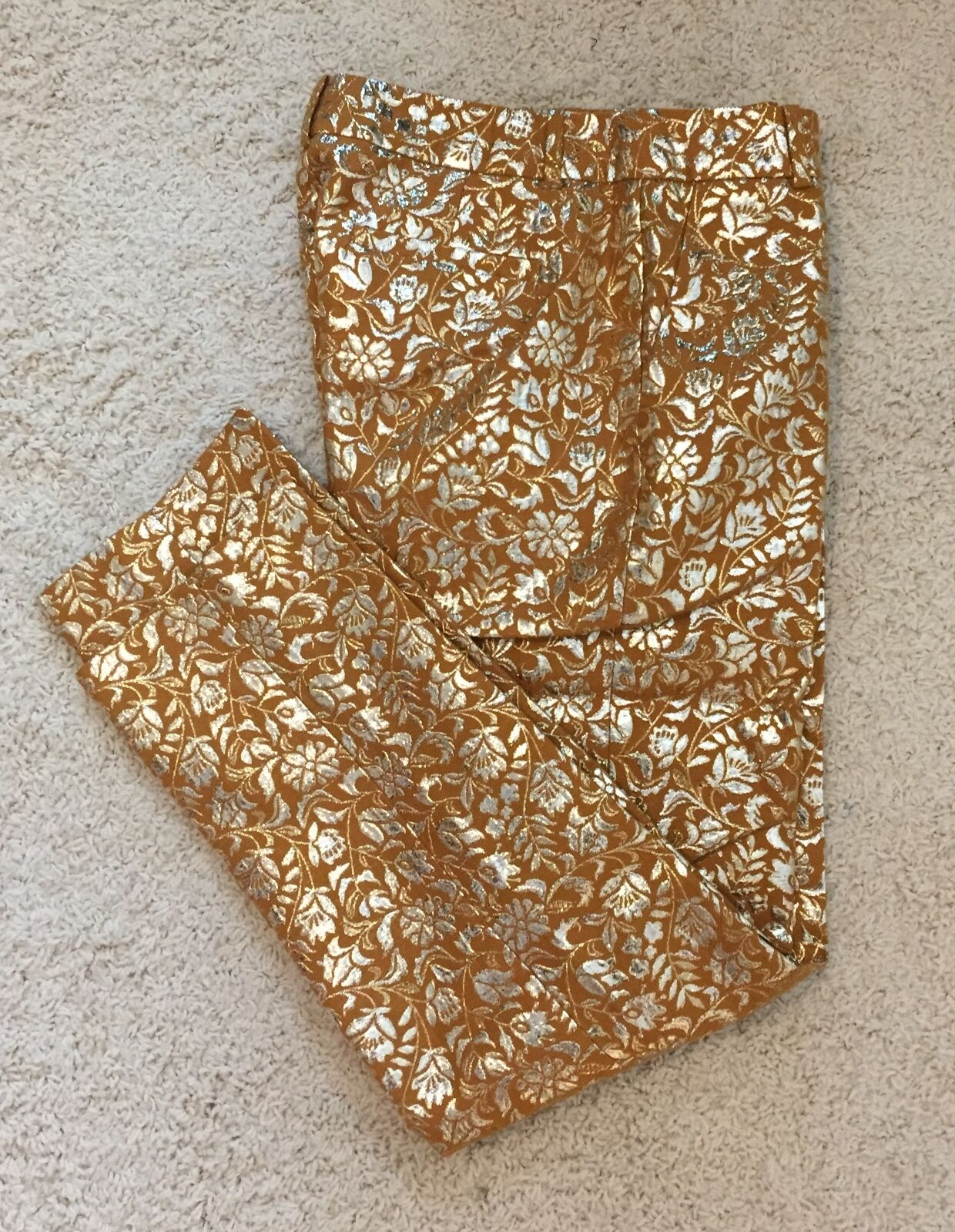 J CREW Collection Cafe Capri in Gilded Jacquard Size 2 Mustard  248