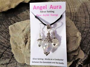 Angel-Aura-Quartz-Sphere-Pendant-Earrings-Rainbow-Colors-Platinum-Gold-Silver