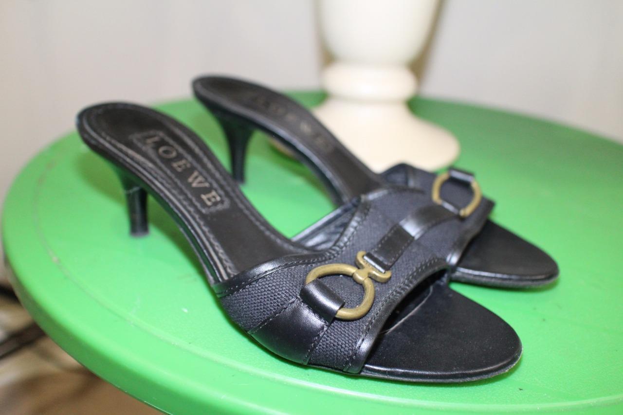 Loewe Black Leather/Canvas Logo Buckle Open Toes Slide Heel Size 37US 7(TACO600)