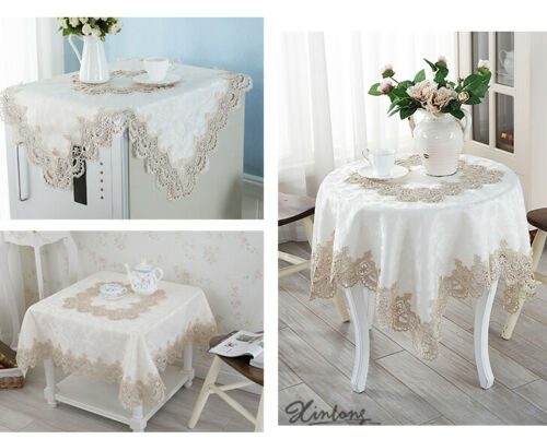 Beige Chemical Lace Embroidered Lace Polyester Tablecloth Table Runner TV Cover