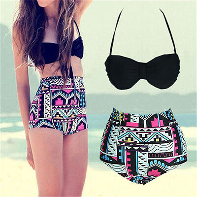 Sexy Women Bikini Vintage Retro High Waist Push Up Bandeau Swimsuit Swimwear Set