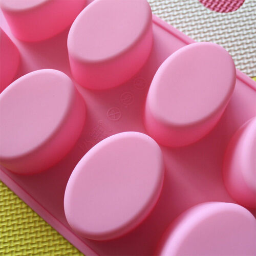 1DIY 8-Cavity Chocolate Mould Oval Shape Soap Mold Silicone Tray Homemade Making