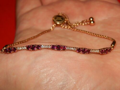 Details about  /14K Rose Gold Finish 2.86CT Round Cut Pink Ruby Women/'s Pretty Bolo Bracelet