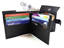 Para Hombre señoras Nuevo Negro Genuino Cuero Billetera crédito tarjeta titular Coin bolsa bolso