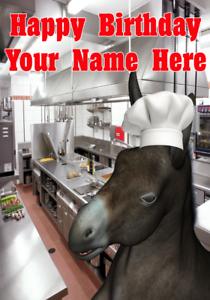 Donkey j480 Chef Cook Fun Mignon Personnalisé HAPPY BIRTHDAY CARD