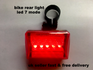 NEW 5 LED 7 MODE WATERPROOF BIKE BICYCLE CYCLE REAR TAIL LIGHT LAMP TAILIGHT UK