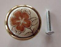 Set Of (4) Antique Flower Cabinet Drawer Knobs Pulls 1 Burnt Orange Gold