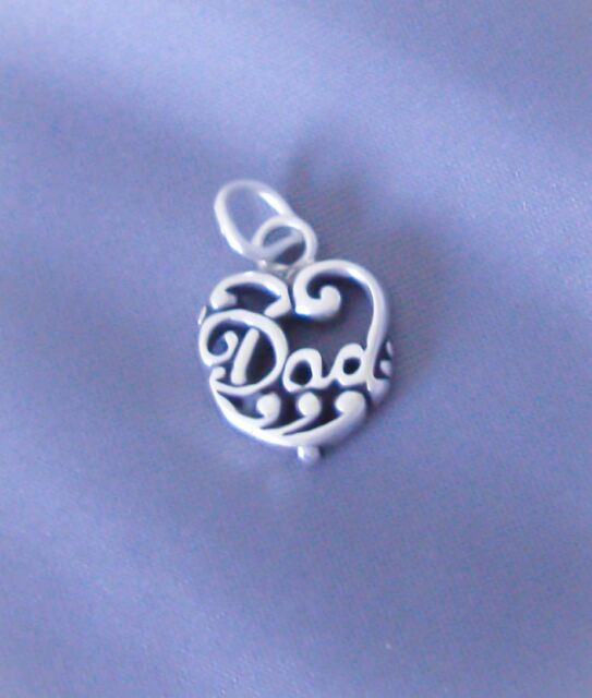 Sterling Silver Dad Charm, Fancy Filigree Heart, Small Mini Charm, Made in USA