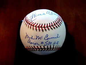 HANK AARON MIKE MCCORMICK 500TH HR BRAVES HOF SIGNED AUTO BASEBALL STEINER MLB