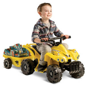 Huffy-6V-Quad-Trailer-Ride-on-Toy-for-Kids-Yellow-NEW