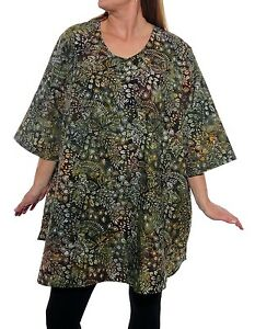 Plus Size We Be Bop Beautiful Batik ARCANE LEAVES Swing Top Lagenlook