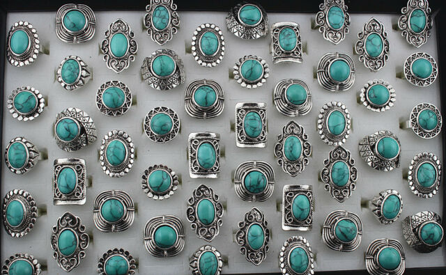 Wholesale Mix Lots 20pcs Vintage turquoise Resin Alloy Adjust rings Jewelry