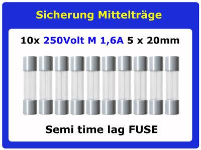 10x FSP Sicherung 1,6A Mittelträge 5x20mm Feinsicherung Fuse semi time lag