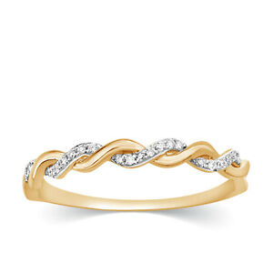 114 Ct Diamond Wedding Infinity Ring Stackable Band Braided 14k