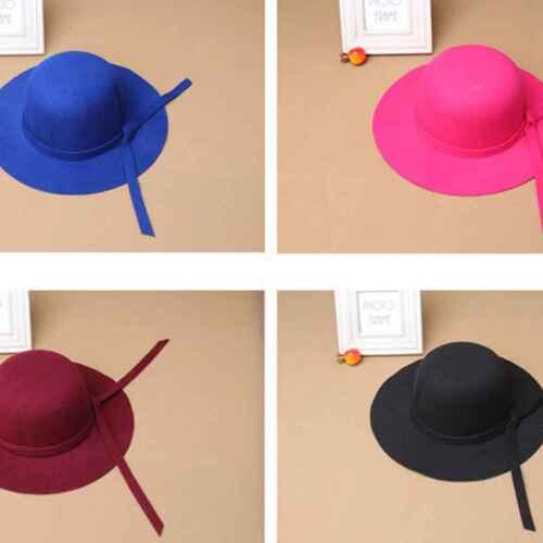 Élégant Enfants Filles Large Bord Rétro Feutre Chapeau melon Floppy Chapeau Cloche Hat Sun Cap