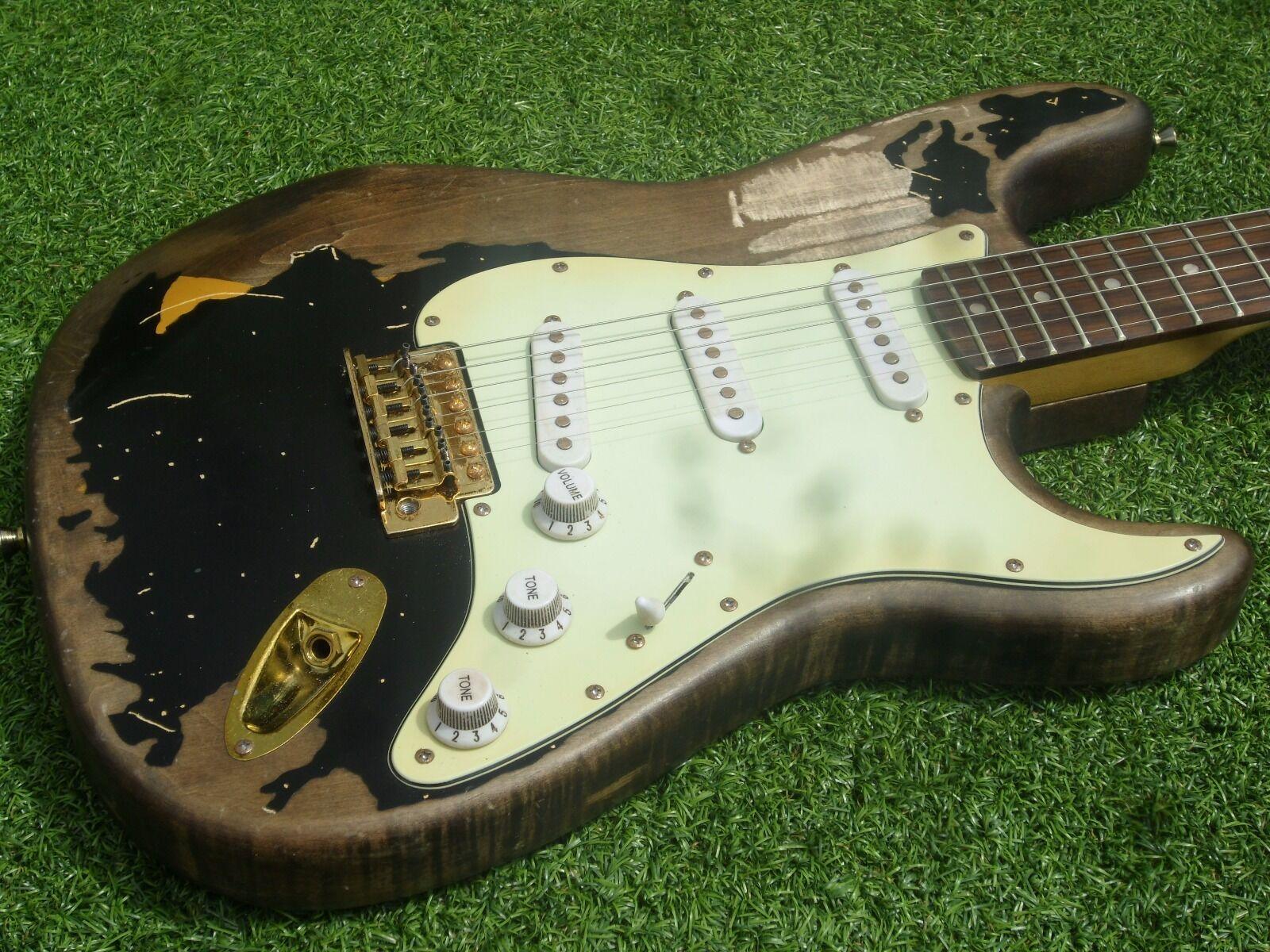 DY Guitars John Mayer relic strat guitar schwarz1 schwarz 1 Blk1