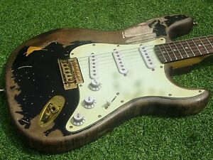 Image Is Loading DY Guitars John Mayer Relic Strat Guitar Black1