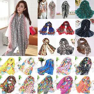 Women Soft Long Neck Large Scarf Wrap Shawl Fashion Flower Chiffon Stole Scarves