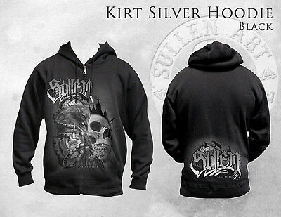 SULLEN KIRT SILVER ARTIST ROSE TATTED SKULL INK GOTH TATTOO ZIP UP HOODIE M-4XL