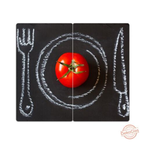 """DEKOGLAS Herdabdeckplatten /""""Tomate/"""" 60x52 Glas Ceranfeld-Abdeckung Spritzschutz"""
