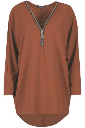 Womens Ladies Batwing Long Sleeve Half Zip Oversized Baggy Hi Lo Jumper Top 8-26