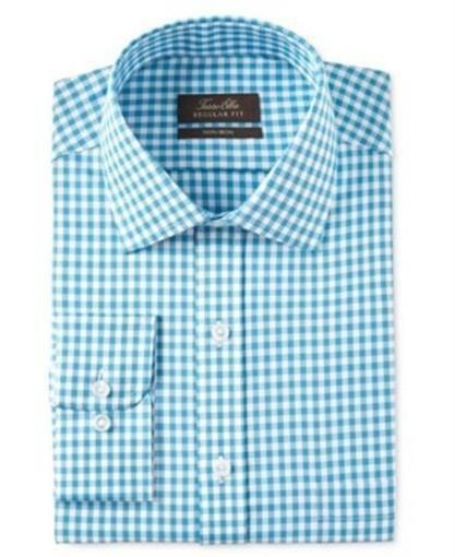 Tasso Elba Classic Regular Fit Gingham Shirt Aqua  Herren 15 34/35 New