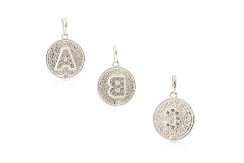 14K Solid White Gold Created Diamond Initial Round Disc Letter Pendant 0.20 ct.