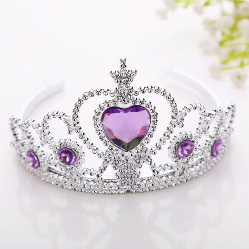 Mädchen Lila Strass Krone Haarreifen Stirnband Prinzessin Kinder Kopfschmuck