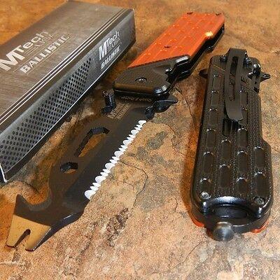 MTECH Spring Assisted BOTTLE OPENER Folding Pocket Knife Multi Tool ORANGE