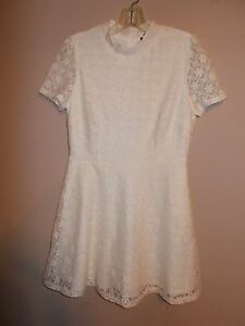 Forever-21-Juniors-Size-L-Ivory-Lace-Fit-and-Flare-Mini-Dress